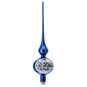 Finial tree topper electric blue snowy village blown glass 35 cm s1