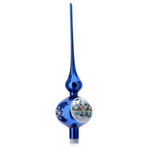 Finial tree topper electric blue snowy village blown glass 35 cm 3