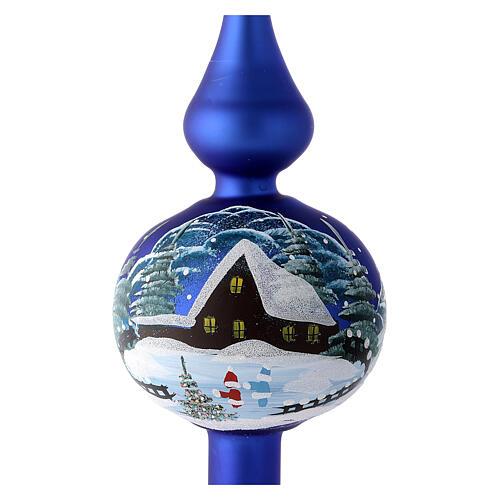 Punta navideño azul casas nevadas vidrio soplado 35 cm 2