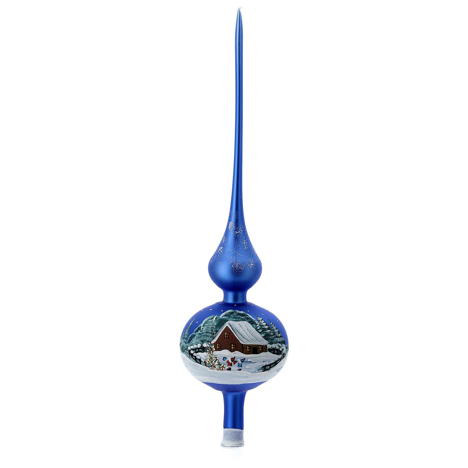 Cimier pour sapin bleu clair maisons enneigées verre soufflé 35 cm 4