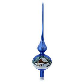 Cimier pour sapin bleu clair maisons enneigées verre soufflé 35 cm s1
