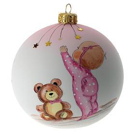 Palla di Natale vetro soffiato bianco decoro bambina 100 mm s1
