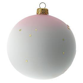 Palla di Natale vetro soffiato bianco decoro bambina 100 mm s5