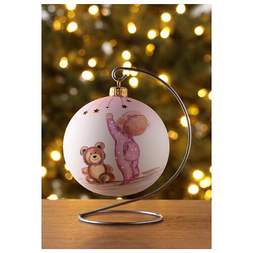 Palla di Natale vetro soffiato bianco decoro bambina 100 mm 2