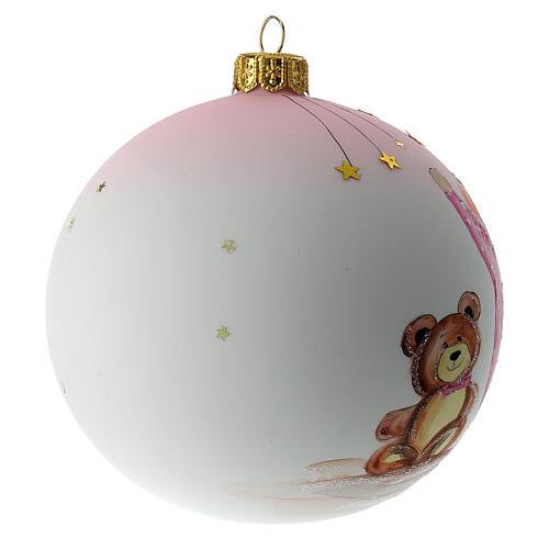 Palla di Natale vetro soffiato bianco decoro bambina 100 mm 4
