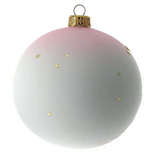 Palla di Natale vetro soffiato bianco decoro bambina 100 mm 5
