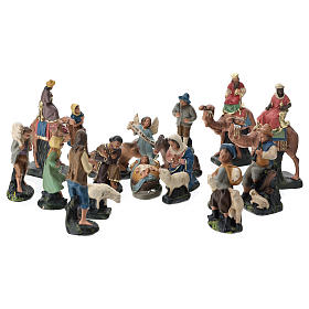 Pesebre Yeso Arte Barsanti: Belén Arte Barsanti completo 19 personajes de yeso coloreado 10 cm