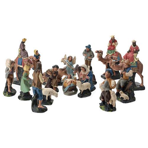 Belén Arte Barsanti completo 19 personajes de yeso coloreado 10 cm 1