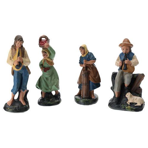 Belén Arte Barsanti completo 19 personajes de yeso coloreado 10 cm 5