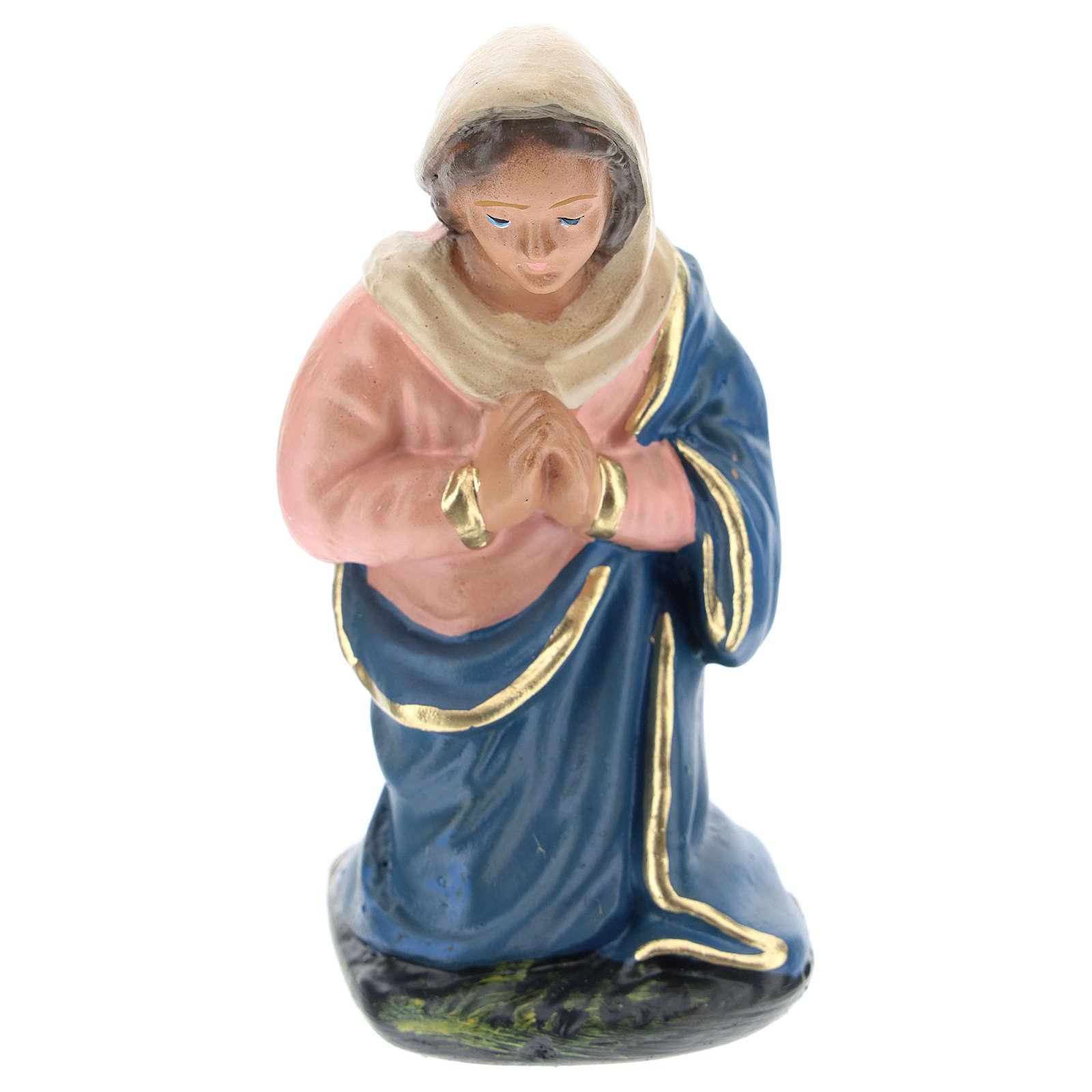 Estatua Virgen de rodillas yeso para belén 10 cm Arte Barsanti 4