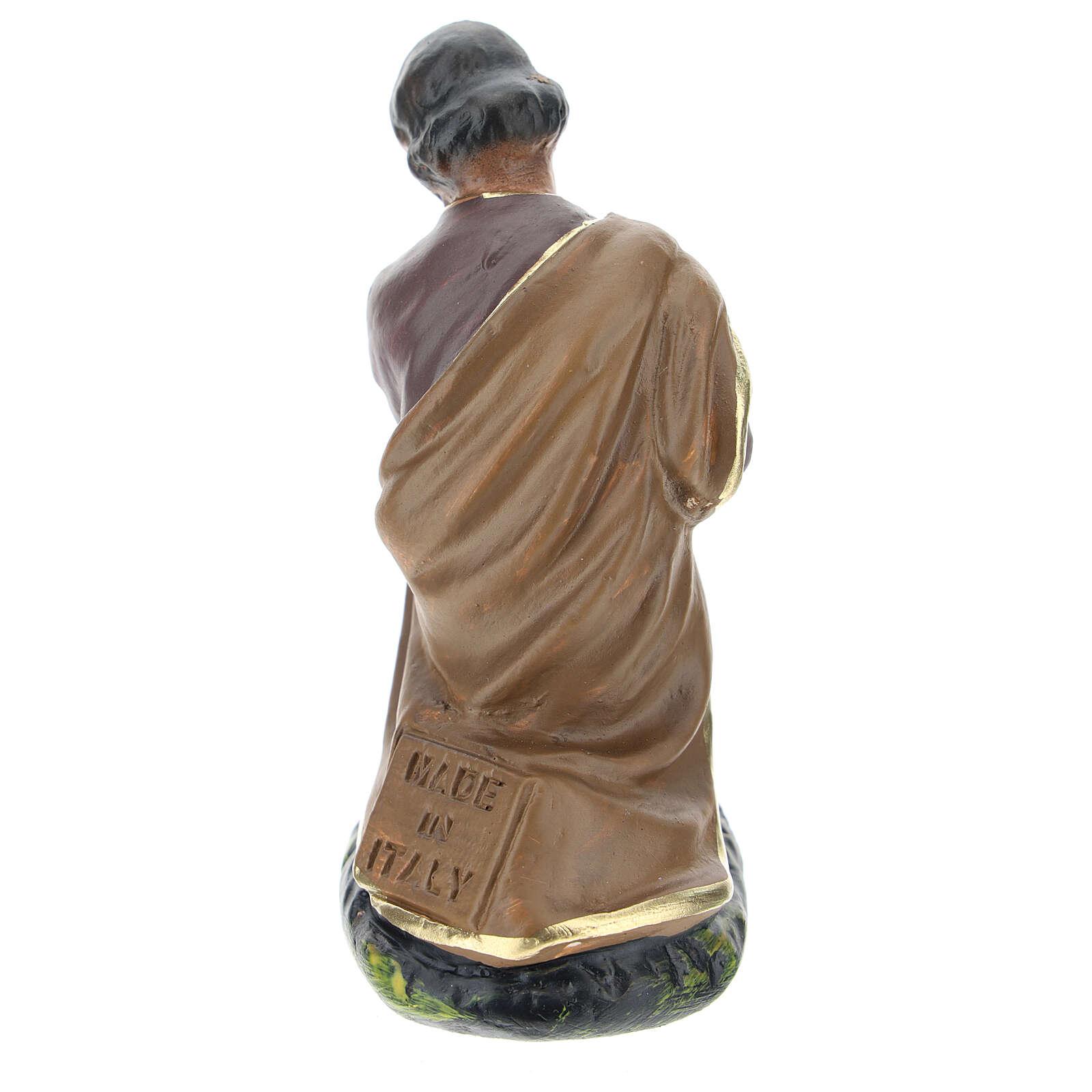 Saint Joseph statue in colored plaster, for 10 cm Arte Barsanti nativity 4