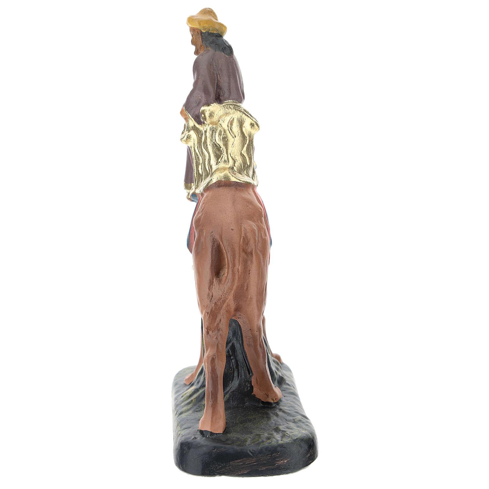 Rey Mago Gaspar con camello de yeso coloreado 10 cm Arte Barsanti 4