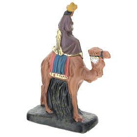 Rey Mago Gaspar con camello de yeso coloreado 10 cm Arte Barsanti s2