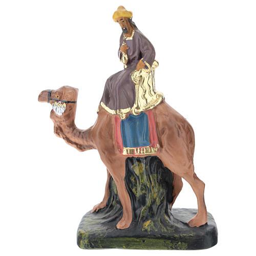 Rey Mago Gaspar con camello de yeso coloreado 10 cm Arte Barsanti 1