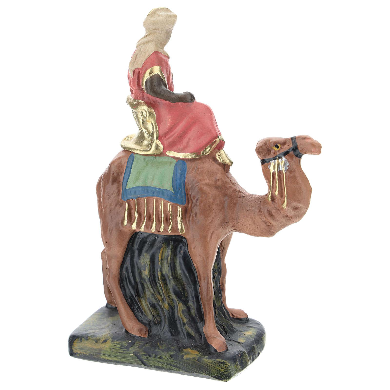 Rey Mago Baltasar yeso coloreado Arte Barsanti a mano 10 cm 4