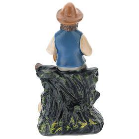 Estatua gaitero con oveja yeso coloreado belenes 10 cm Barsanti s2