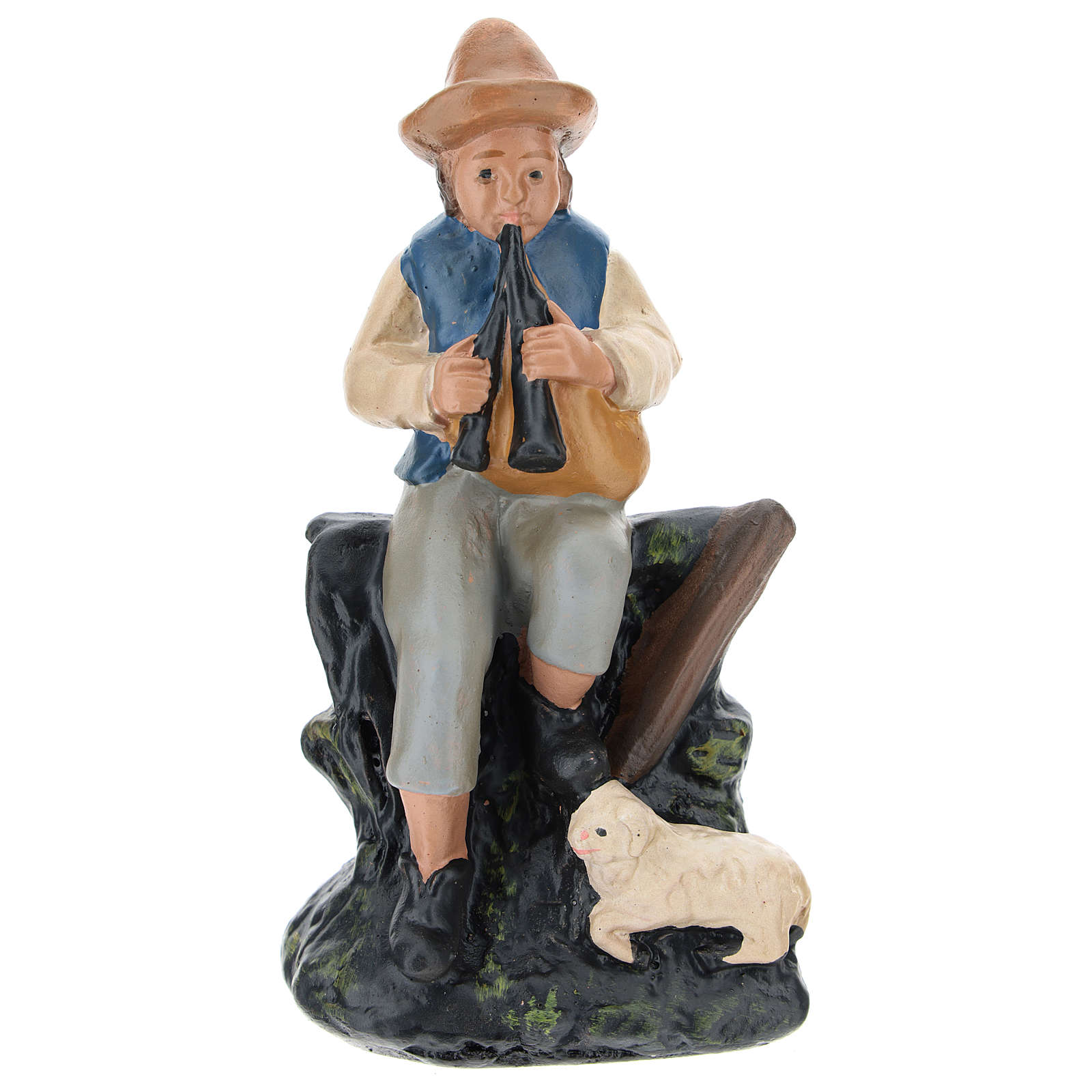 Statuina zampognaro con pecora gesso colorato presepi 10 cm Barsanti 4