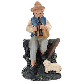 Statuina zampognaro con pecora gesso colorato presepi 10 cm Barsanti s1