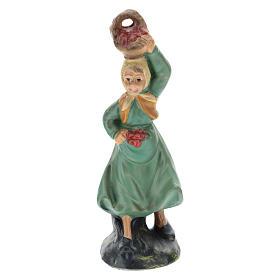Pastorella Arte Barsanti con cesto gesso colorato per presepi di 10 cm s1