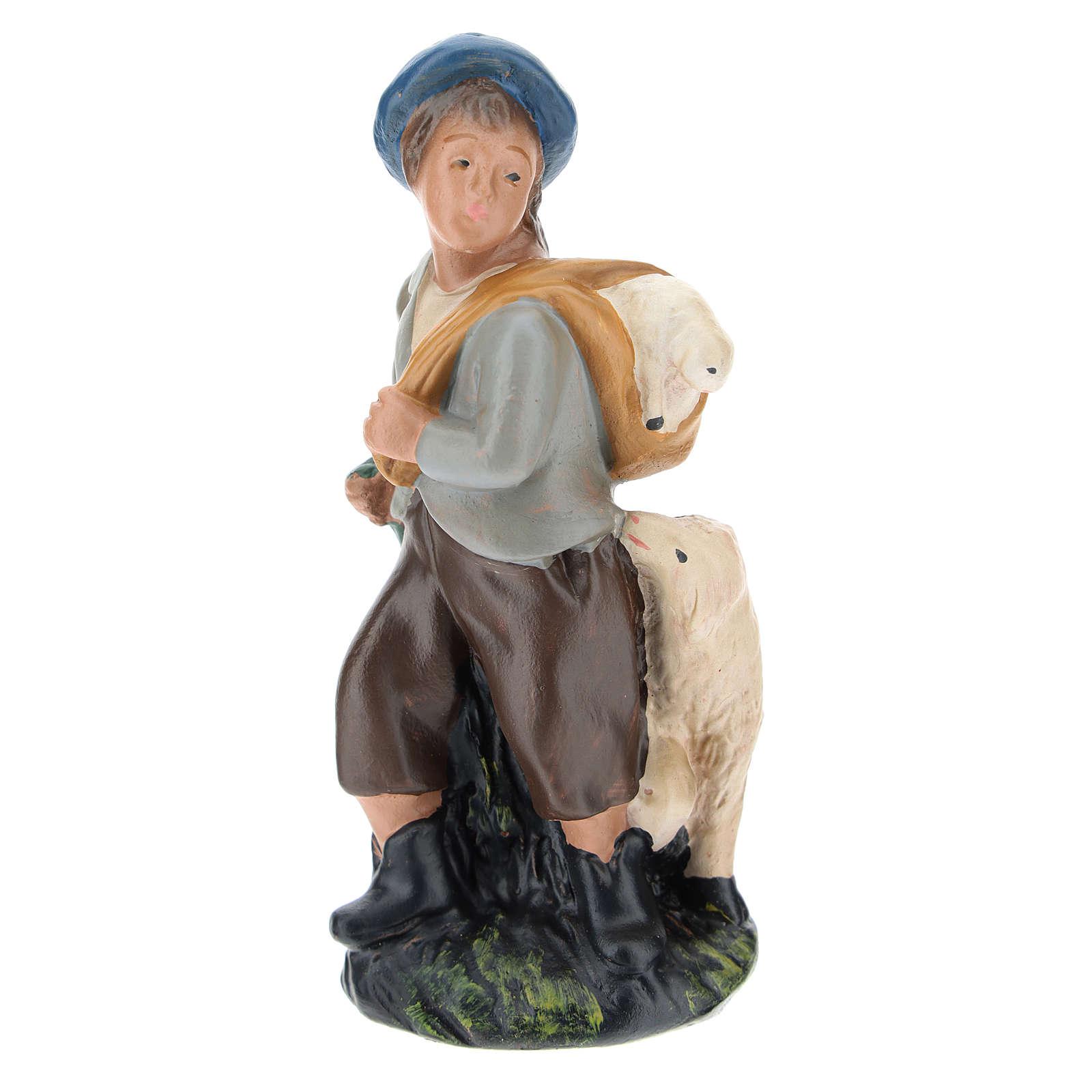Estatua pastor con ovejas yeso coloreado 10 cm Arte Barsanti 4
