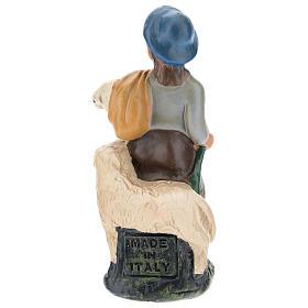 Statua pastore con pecore gesso colorato 10 cm Arte  Barsanti s2