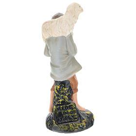 Estatua pastor con oveja sobre las espaldas yeso coloreado 10 cm Arte Barsanti s2