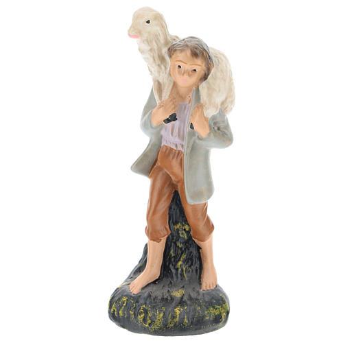 Estatua pastor con oveja sobre las espaldas yeso coloreado 10 cm Arte Barsanti 1