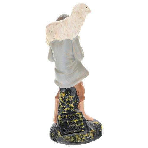 Estatua pastor con oveja sobre las espaldas yeso coloreado 10 cm Arte Barsanti 2