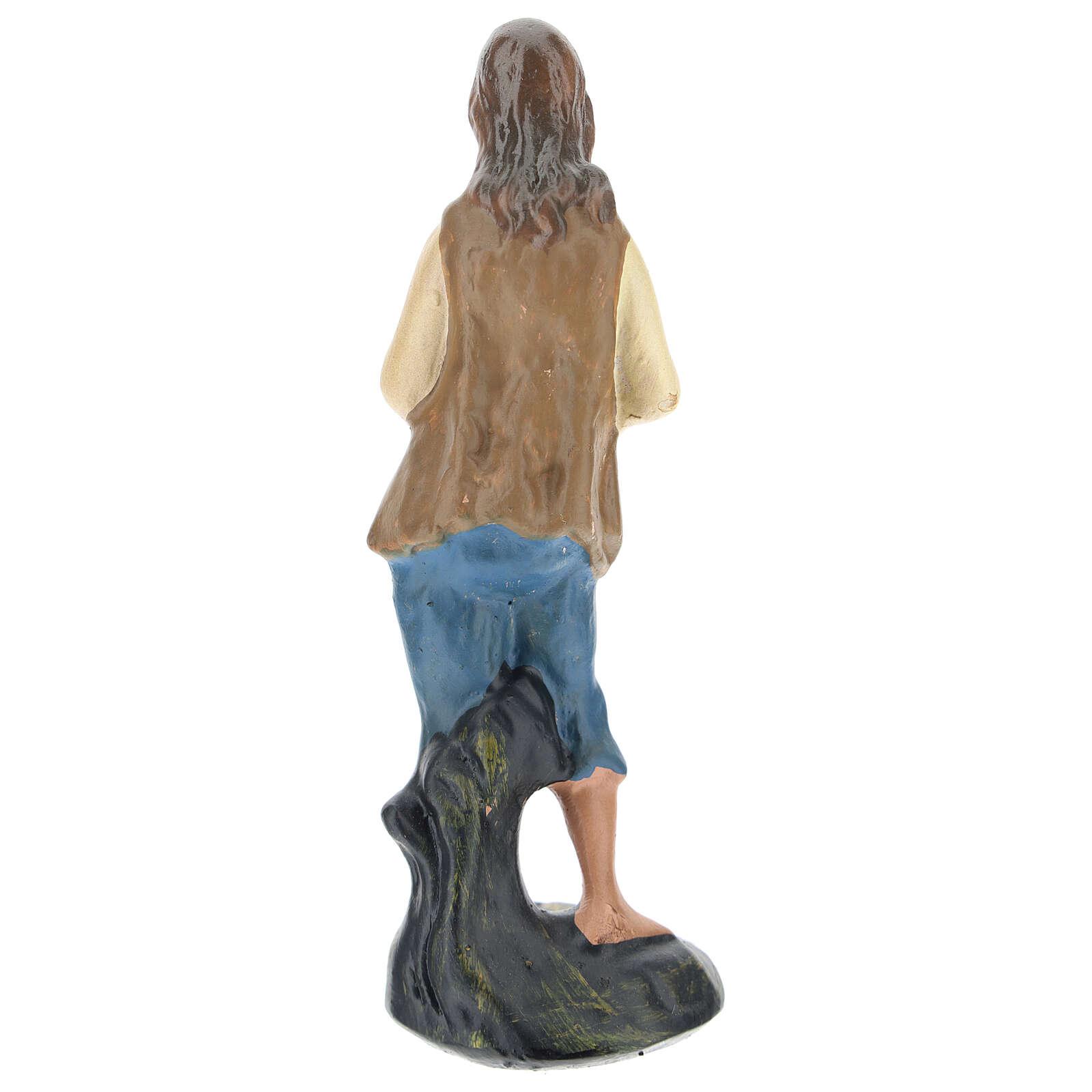 Piper boy statue in colored plaster, for 10 cm Arte Barsanti nativity 4