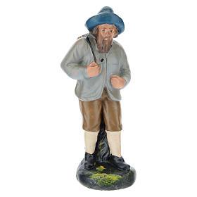 Estatua pastor con sombrero y saco yeso coloreado belenes 10 cm Barsanti s1
