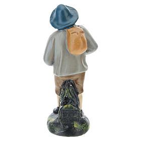 Estatua pastor con sombrero y saco yeso coloreado belenes 10 cm Barsanti s2