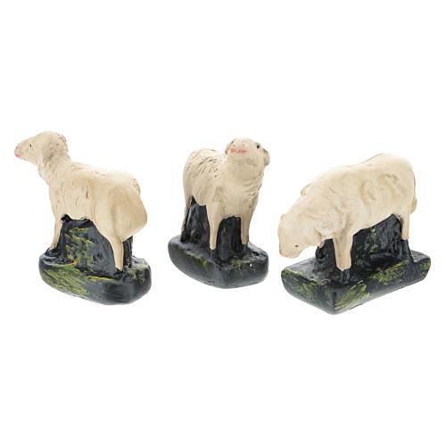 Set 3 ovejas yeso coloreado para belenes 10 cm Arte Barsanti 2