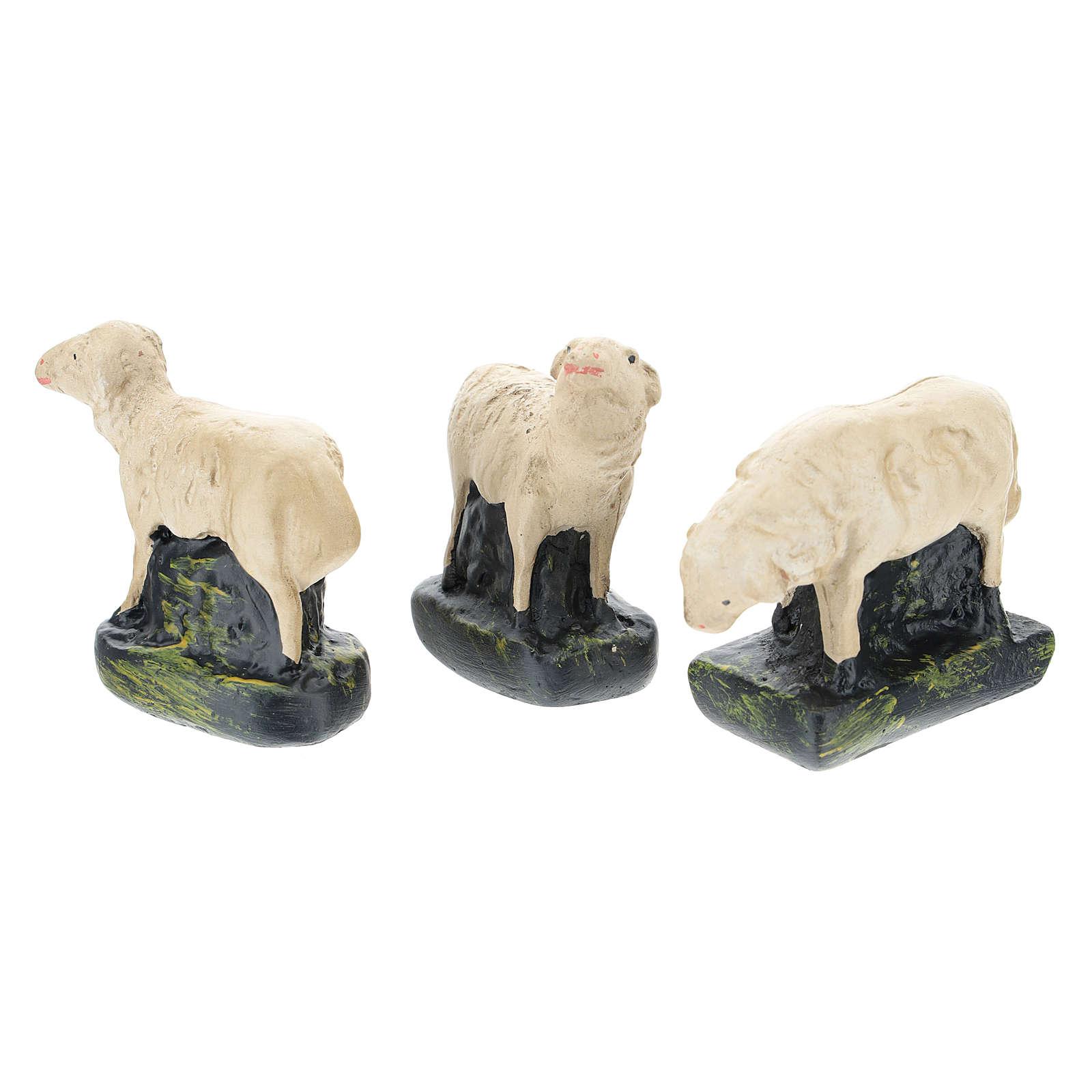 Set 3 pecorelle gesso colorato per presepi 10 cm Arte  Barsanti 4