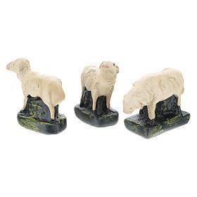 Set 3 pecorelle gesso colorato per presepi 10 cm Arte  Barsanti s2