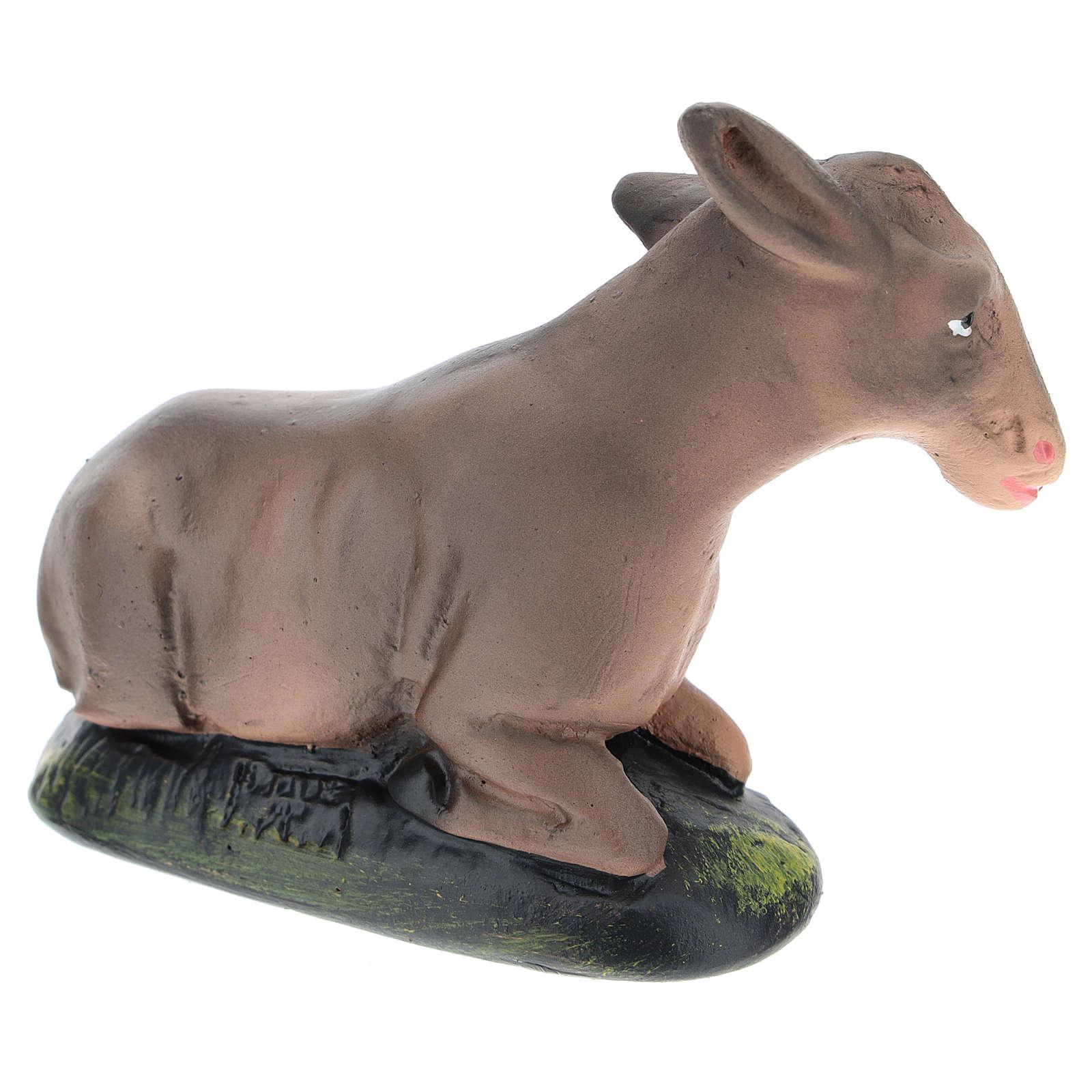 Estatua burro yeso pintado para belenes 15 cm Arte Barsanti 4