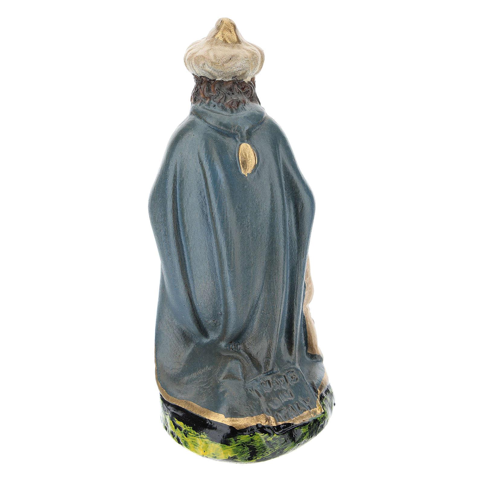 Estatua Rey Mago Gaspar de rodillas de yeso para belenes 15 cm Arte Barsanti 4