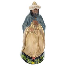 Estatua Rey Mago Gaspar de rodillas de yeso para belenes 15 cm Arte Barsanti s1