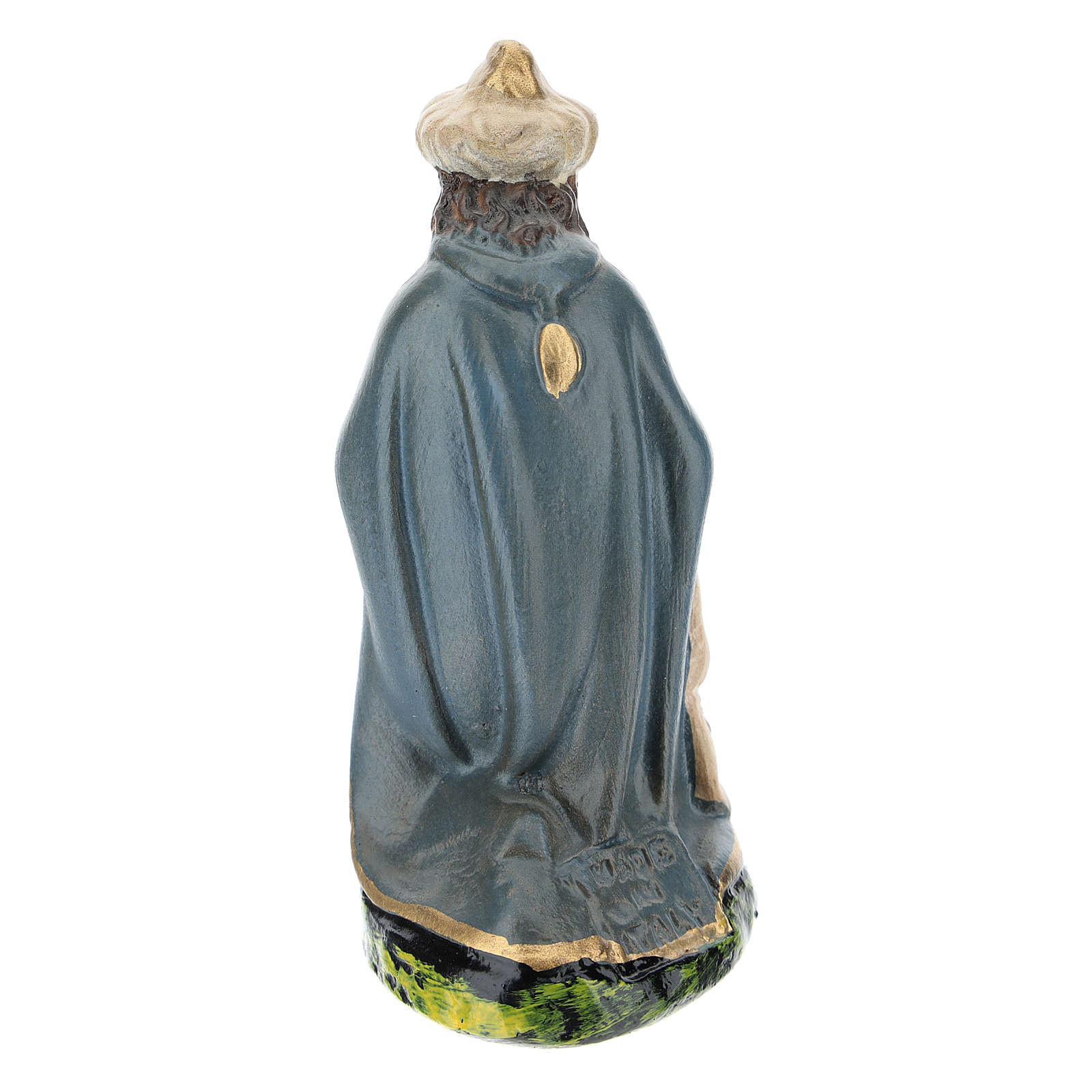 Statuina Re Magio Gaspare inginocchiato in gesso per presepi 15 cm Barsanti 4