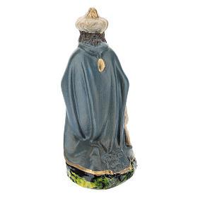 Statuina Re Magio Gaspare inginocchiato in gesso per presepi 15 cm Barsanti s2