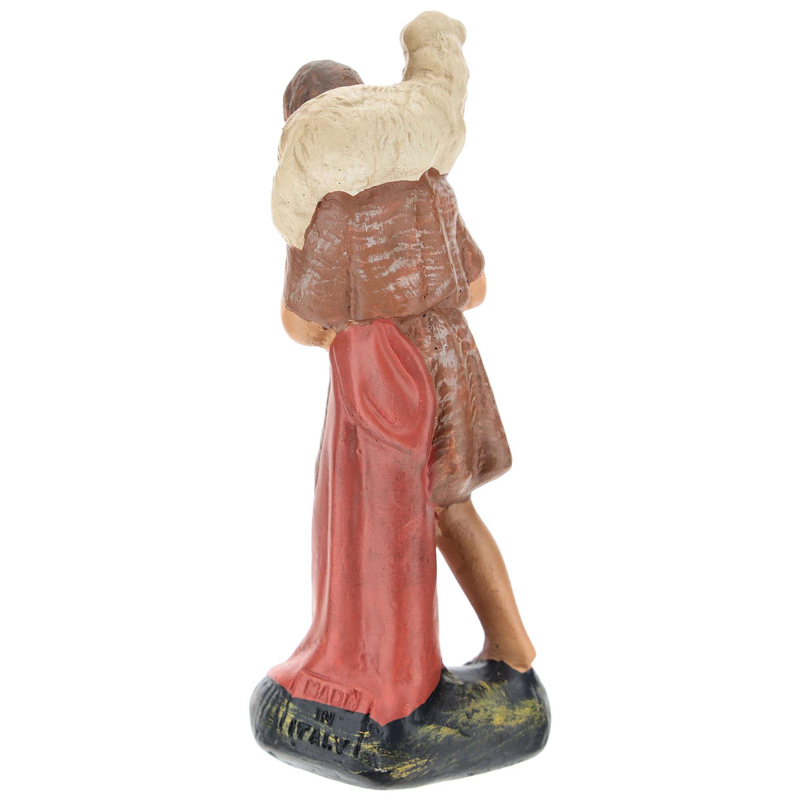 Estatua pastor con oveja sobre las espaldas yeso 15 cm Arte Barsanti 4