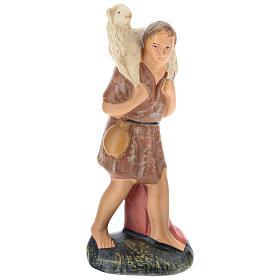 Estatua pastor con oveja sobre las espaldas yeso 15 cm Arte Barsanti s1