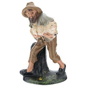 Estatua pastor con oveja yeso coloreado 15 cm Arte Barsanti s1