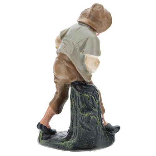 Estatua pastor con oveja yeso coloreado 15 cm Arte Barsanti 2