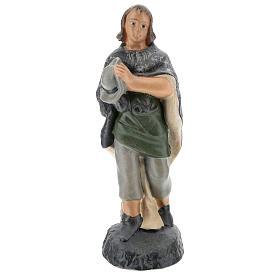 Estatua pastor en adoración yeso pintado a mano para belenes Barsanti 15 cm s1