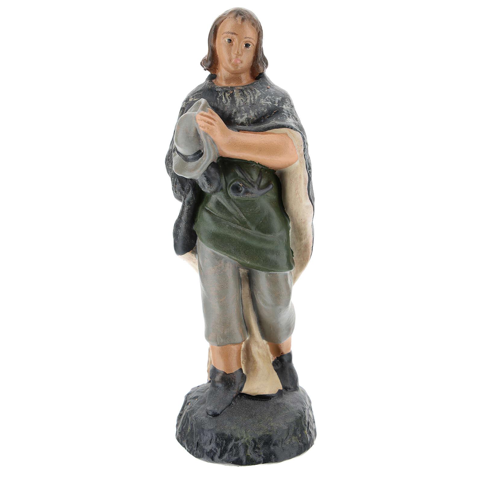 Adoring Shepherd figure in hand painted plaster, for 15 Arte Barsanti Nativity 4