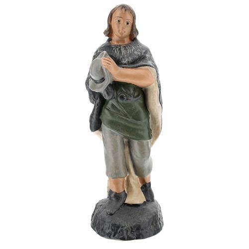 Adoring Shepherd figure in hand painted plaster, for 15 Arte Barsanti Nativity 1
