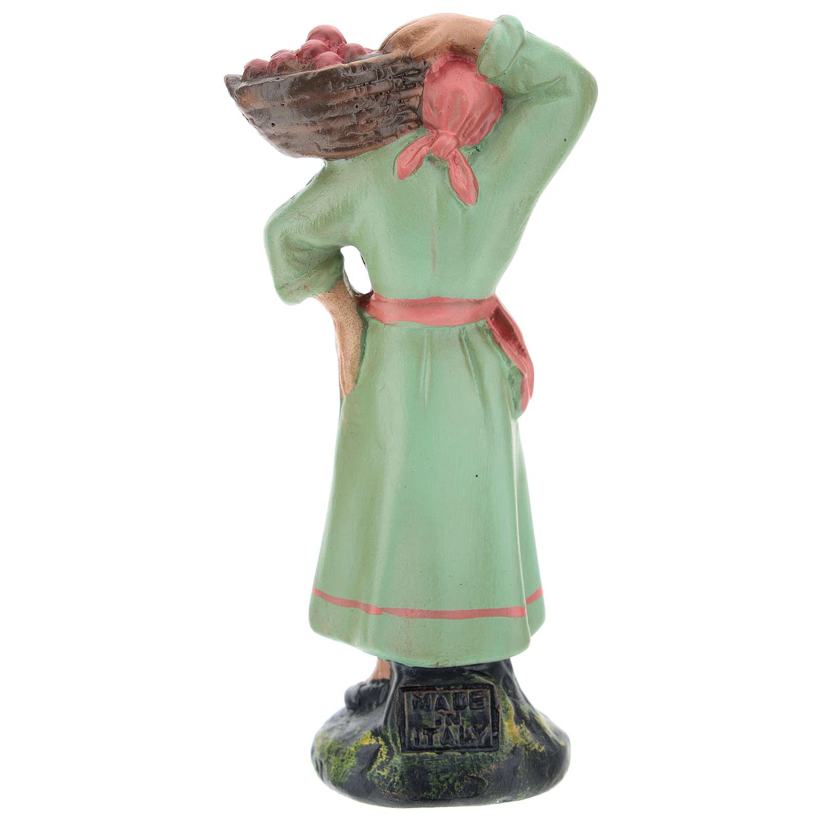 Estatua campesina con cesta de manzanas para belenes de Arte Barsanti 15 cm 4
