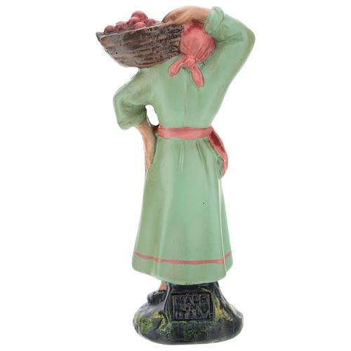 Estatua campesina con cesta de manzanas para belenes de Arte Barsanti 15 cm 2