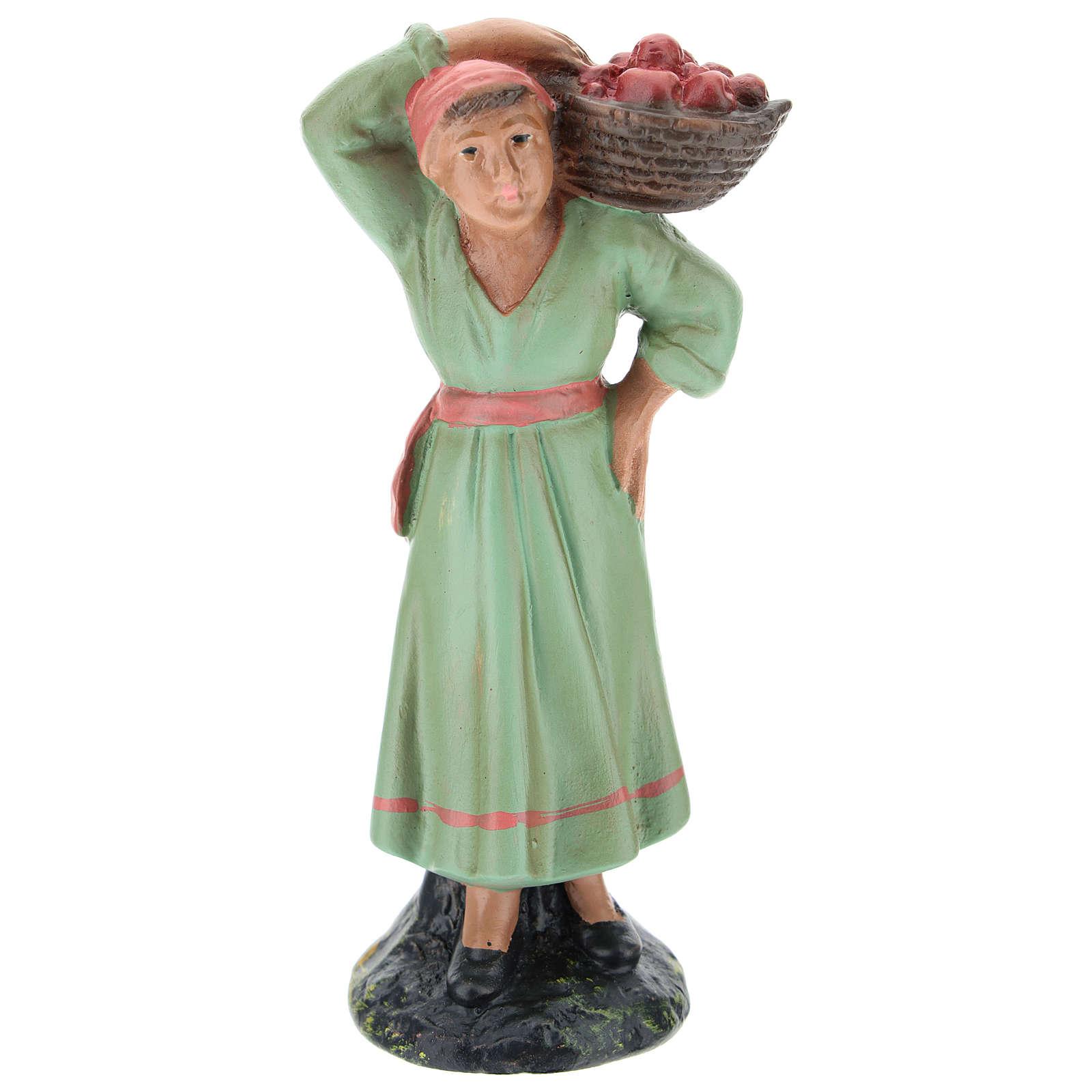 Statua contadina con cesto di mele per presepi di Arte Barsanti 15 cm 4