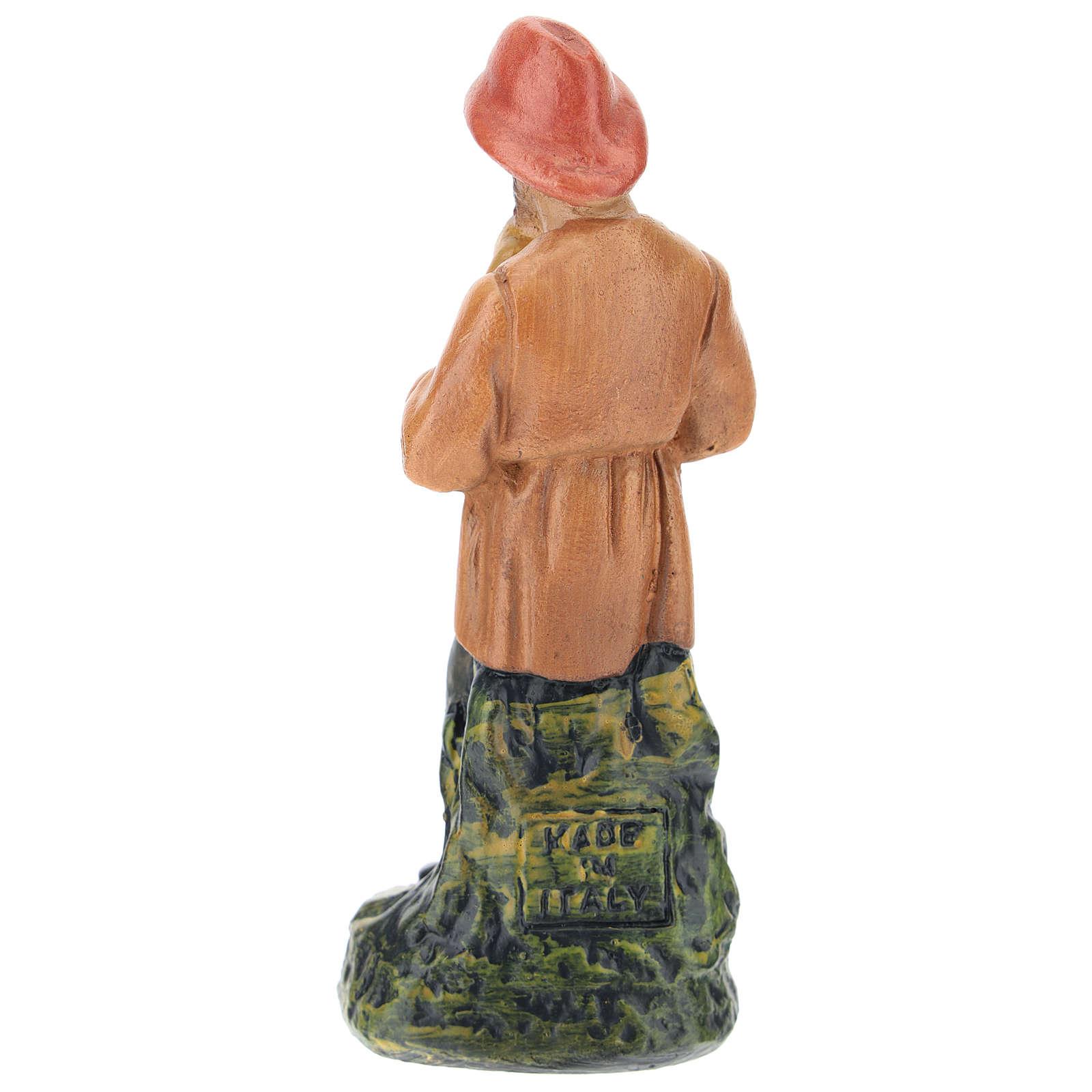 Statua zampognaro gesso dipinto a mano per presepi di Arte Barsanti 15 cm 4